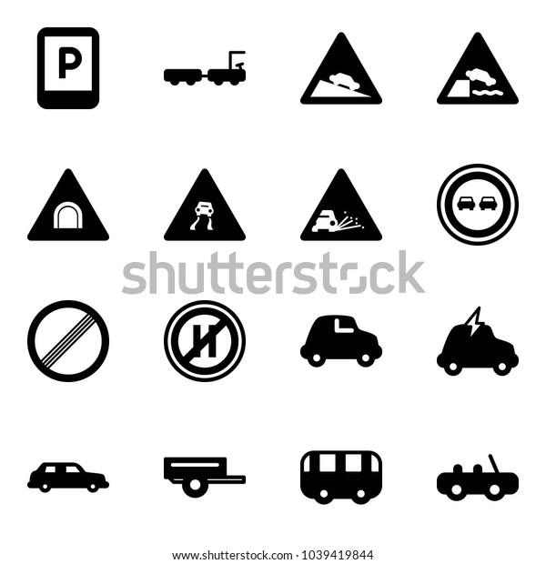 Solid vector icon set - parking sign vector, baggage truck, steep descent road, embankment, tunnel, slippery, gravel, no overtake, limit, even, car, electric, limousine, trailer, toy bus