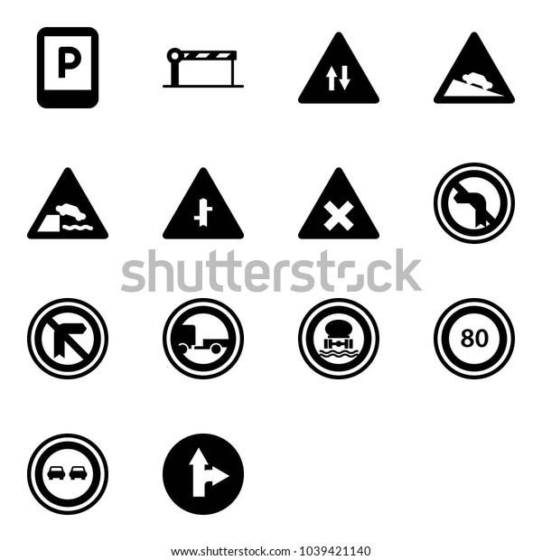 Solid vector icon set - parking sign vector, barrier, oncoming traffic road, steep descent, embankment, intersection, railway, no left turn, trailer, dangerous cargo, speed limit 80, overtake