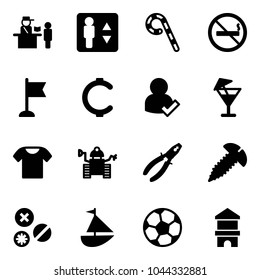 Solid vector icon set - passport control vector, elevator, lollipop, no smoking sign, flag, cent, user check, drink, t shirt, robot, pliers, screw, rivet, sailboat toy, soccer ball, block house