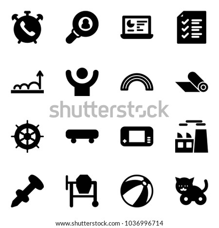 Solid Vector Icon Set Phone Alarm Stock Vector (Royalty Free ... 4670431be56