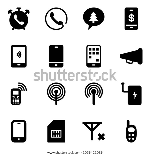 Solid vector icon set - phone alarm vector, merry christmas message, mobile payment, speaker horn, antenna, power bank, sim, no signal, toy