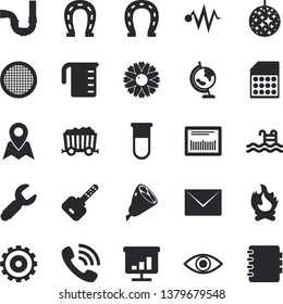 Solid vector icon set - pipes flat vector, meashuring cup, sieve, ham, flower, horseshoe, bonfire, SIM card, wrench, mining, cogwheel, phone call, barcode, blood test, eye, chart, globe, pool, key
