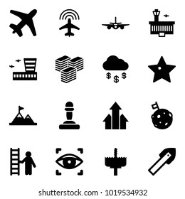 Solid vector icon set - plane vector, radar, airport building, big cash, money rain, star, attainment, pawn, arrows up, moon flag, opportunity, eye scanner, crown drill, tile