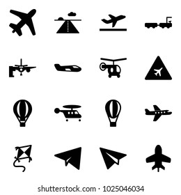 Solid vector icon set - plane vector, runway, departure, baggage truck, boarding passengers, small, helicopter, airport road sign, air balloon, kite, paper, toy