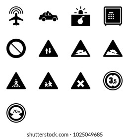 Solid vector icon set - plane radar vector, safety car, terrorism, safe, prohibition road sign, oncoming traffic, climb, steep descent, pedestrian, children, railway intersection, limited height