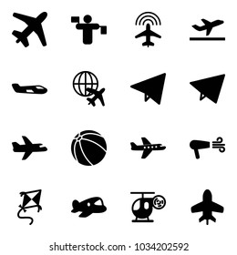 Solid vector icon set - plane vector, traffic controller, radar, departure, small, globe, paper fly, ball, dryer, kite, toy, helicopter