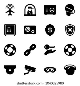 Solid vector icon set - plane radar vector, officer window, safe, medical mask, shield cross, lifebuoy, link, key hand, surveillance camera, protective glasses, protect glass