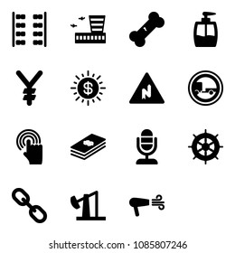 Solid vector icon set - plane seats vector, airport building, broken bone, liquid soap, yen, dollar sun, abrupt turn right road sign, no trailer, hand cursor, microphone, wheel, link, oil derrick