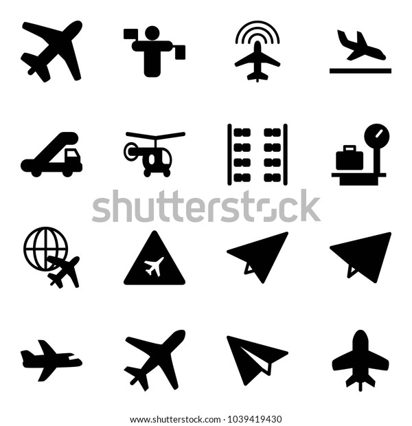 Solid vector icon set - plane vector, traffic controller, radar, arrival, trap truck, helicopter, seats, baggage scales, globe, airport road sign, paper, fly, toy