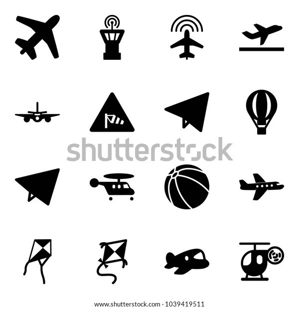 Solid vector icon set - plane vector, airport tower, radar, departure, side wind road sign, paper fly, air balloon, helicopter, ball, kite, toy