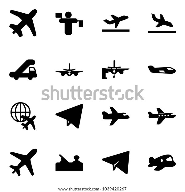 Solid vector icon set - plane vector, traffic controller, departure, arrival, trap truck, boarding passengers, small, globe, paper fly, jointer, toy