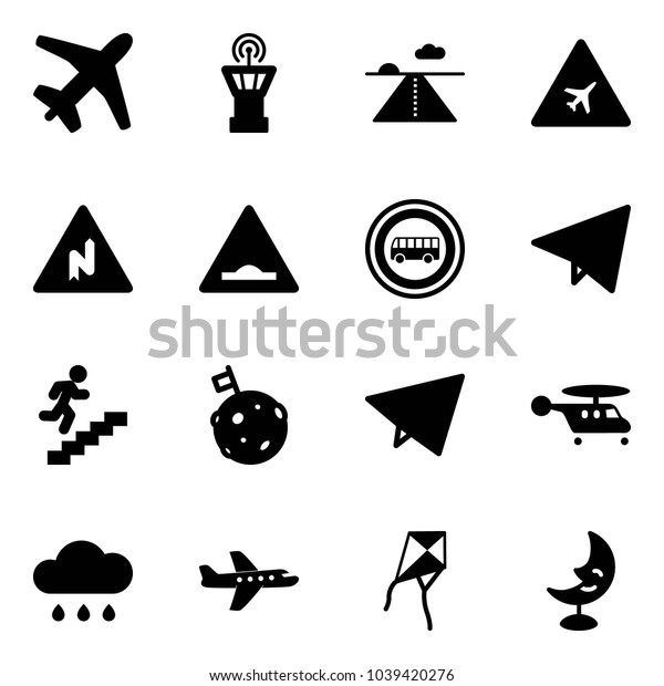 Solid vector icon set - plane vector, airport tower, runway, road sign, abrupt turn right, artificial unevenness, no bus, paper fly, career, moon flag, helicopter, rain cloud, kite, lamp