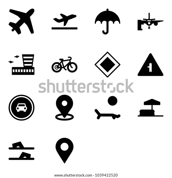 Solid vector icon set - plane vector, departure, insurance, boarding passengers, airport building, bike, main road sign, intersection, no car, map pin, lounger, inflatable pool, flip flops