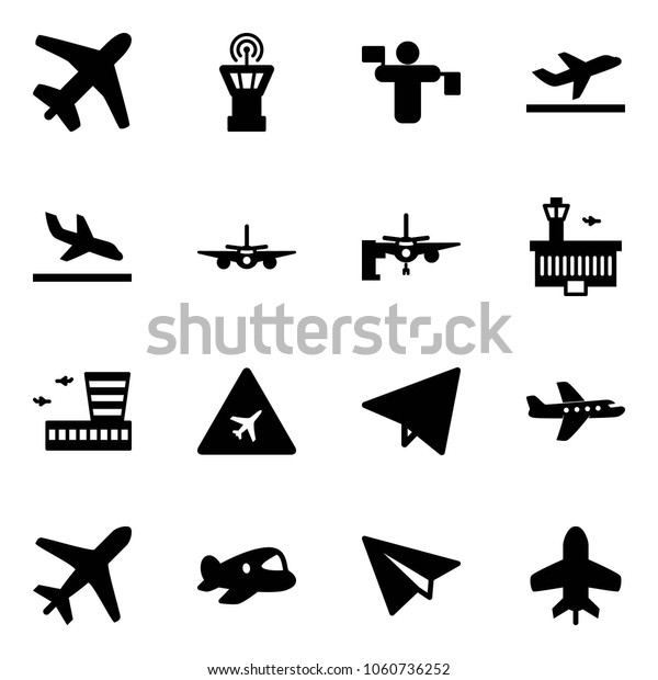 Solid Vector Icon Set Plane Vector Stock Vector Royalty Free 1060736252
