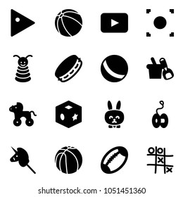 Solid vector icon set - play vector, ball, playback, record button, pyramid toy, tambourine, shovel bucket, wheel horse, cube, rabbit, yoyo, unicorn stick, basketball, football, Tic tac toe