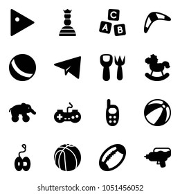 Solid vector icon set - play vector, chess queen, abc cube, boomerang, ball, paper plane, shovel fork toy, rocking horse, elephant wheel, gamepad, phone, beach, yoyo, basketball, football, water gun