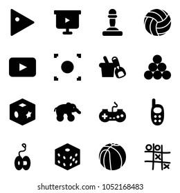 Solid vector icon set - play vector, presentation board, pawn, volleyball, playback, record button, shovel bucket, billiards balls, cube toy, elephant wheel, gamepad, phone, yoyo, bones, basketball