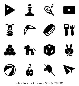 Solid vector icon set - play vector, pawn, badminton, playback, pyramid toy, boomerang, tambourine, shovel fork, billiards balls, wheel horse, cube, rabbit, beach ball, yoyo, unicorn stick