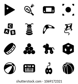 Solid vector icon set - play vector, badminton, game console, record button, abc cube, pyramid toy, boomerang, kite, tambourine, billiards balls, wheel horse, beach ball, piano, yoyo, basketball