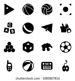 Solid vector icon set - play vector, ball, volleyball, record button, abc cube, paper plane, shovel bucket, billiards balls, toy, elephant wheel, soccer, phone, beach, piano, yoyo