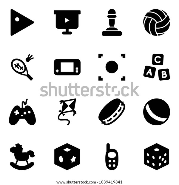 Solid vector icon set - play vector, presentation board, pawn, volleyball, badminton, game console, record button, abc cube, joystick, kite, tambourine, ball, rocking horse, toy, phone, bones