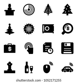 Solid vector icon set - recieptionist vector, radar, christmas tree, firework, safe, money search, case, hand cursor, history, save, winner, wine, mouse wireless, car
