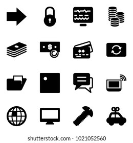 Solid vector icon set - right arrow vector, lock, diagnostic monitor, coin, dollar, cash, credit card, exchange, folder, chat, notebook wi fi, globe, screw, car toy