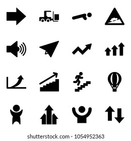 Solid vector icon set - right arrow vector, fork loader, push ups, climb road sign, volume max, paper plane, growth, arrows up, career, air balloon, success, down