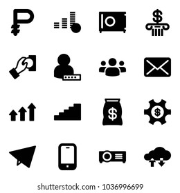 Solid vector icon set - ruble vector, coin, safe, bank, cash pay, user password, group, mail, arrows up, stairs, money bag, managemet, paper fly, mobile phone, projector, cloud exchange data