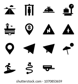 Solid vector icon set - runway vector, metal detector gate, client bell, baggage scales, airport building, dollar pin, abrupt turn right road sign, intersection, map, paper fly, beach, surfing, trip