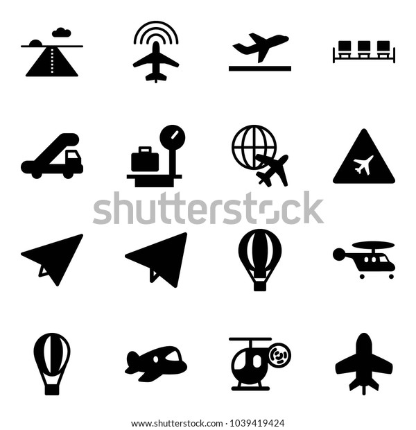 Solid vector icon set - runway vector, plane radar, departure, waiting area, trap truck, baggage scales, globe, airport road sign, paper, fly, air balloon, helicopter, toy