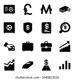 Solid vector icon set - safe vector, pound, monero, cash, annual report, money search, card pay, case, portfolio, growth, gold, dollar, chart