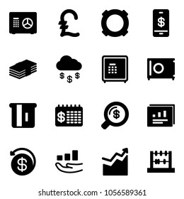 Solid vector icon set - safe vector, pound, currency, mobile payment, dollar, money rain, atm, finance calendar, search, statistics report, back, growth, abacus
