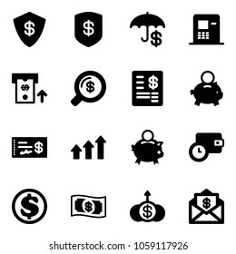 Solid vector icon set - safe vector, insurance, atm, money search, account statement, piggy bank, check, arrows up, wallet time, dollar, growth, mail