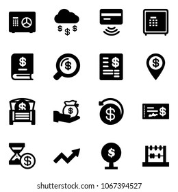 Solid vector icon set - safe vector, money rain, tap pay, annual report, search, account statement, dollar pin, chest, investment, back, check, history, growth arrow, tree, abacus