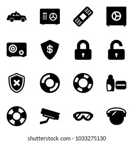 Solid vector icon set - safety car vector, safe, medical patch, locked, unlocked, shield cross, lifebuoy, uv cream, surveillance camera, protective glasses, protect glass