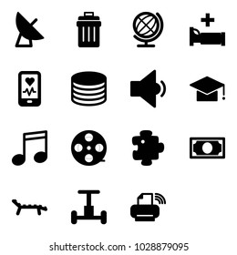 Solid vector icon set - satellite antenna vector, trash bin, globe, hospital bed, mobile heart monitor, coin, low volume, graduate hat, music, film coil, puzzle, money, lounger, gyroscope
