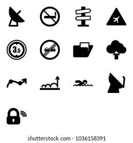 Solid vector icon set - satellite antenna vector, no smoking sign, road signpost, airport, limited height, end overtake limit, folder, upload cloud, chart point arrow, growth, swimming