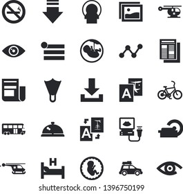 Solid vector icon set - scatter chart flat vector, news, hospital bed, ultrasound, helicopter, embryo, tomograph, car fector, bus, bicycle, flippers, no smoking, jingle, gallery, menu, download, eye