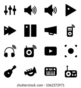 Solid vector icon set - settings vector, volume max, medium, play, fast forward, pause, loudspeaker, music player, wireless headphones, speaker, playback, record button, guitar, horn toy, piano