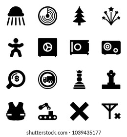 Solid vector icon set - shower vector, radar, christmas tree, firework, gymnastics, safe, money search, no truck road sign, chess queen, winner, life vest, conveyor, delete, signal