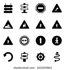 Solid vector icon set - sign post vector, road signpost, no way, turn right, steep roadside, abrupt, intersection, overtake, only forward, pedestrian, undo, hand wheel, trip