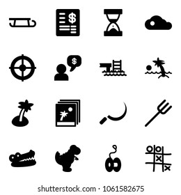 Solid vector icon set - sleigh vector, account statement, sand clock, cloud, target, money dialog, pool, palm, photo, sickle, farm fork, crocodile, dinosaur toy, yoyo, Tic tac toe