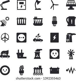Solid vector icon set - sockets flat vector, switch box, electric kettle, windmill, solar battery, accumulator, socket, plug, hydroelectric power station, eco cars, reading lamp, nuclear plant