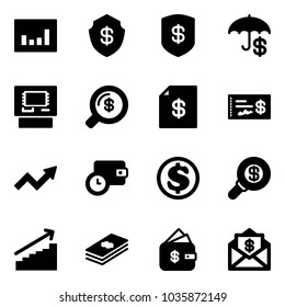 Solid vector icon set - statistics vector, safe, insurance, atm, money search, account statement, check, growth arrow, wallet time, dollar, finance management, mail