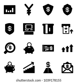 Solid vector icon set - statistics vector, yen, safe, atm, money search, piggy bank, check, arrows up, growth, dollar, mail