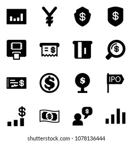 Solid vector icon set - statistics vector, yen, safe, atm, receipt, money search, check, dollar, tree, ipo, chart, dialog