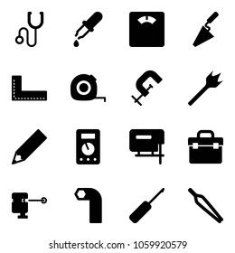 Solid vector icon set - stethoscope vector, pipette, floor scales, trowel, corner ruler, measuring tape, clamp, wood drill, pencil, multimeter, jig saw, tool box, laser lever, allen key, awl