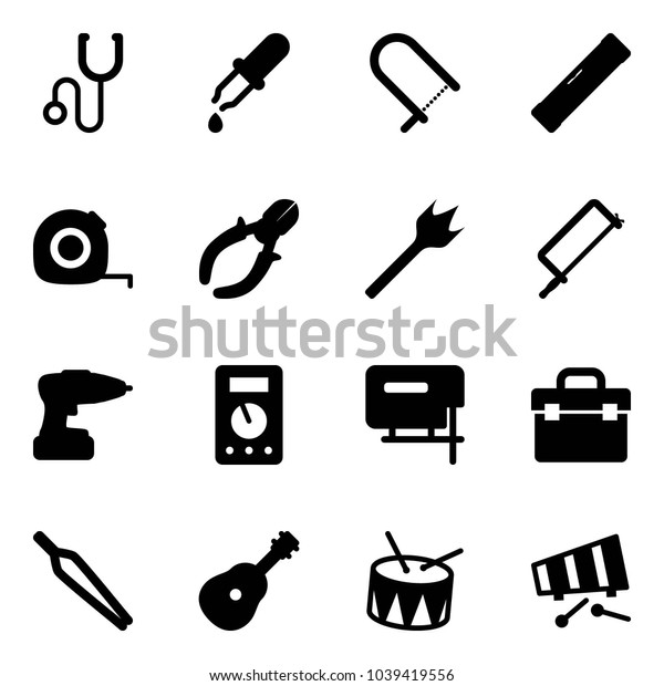 Solid vector icon set - stethoscope vector, pipette, fretsaw, level, measuring tape, side cutters, wood drill, metal hacksaw, multimeter, jig saw, tool box, forceps, guitar, drum, xylophone