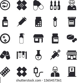 Solid vector icon set - store front flat vector, pill packaging, pills, vial, medical warmer, syringe, analysis, patch, ampoule, scientist, beakers, Petri dish, vitamins, doctor's office fector